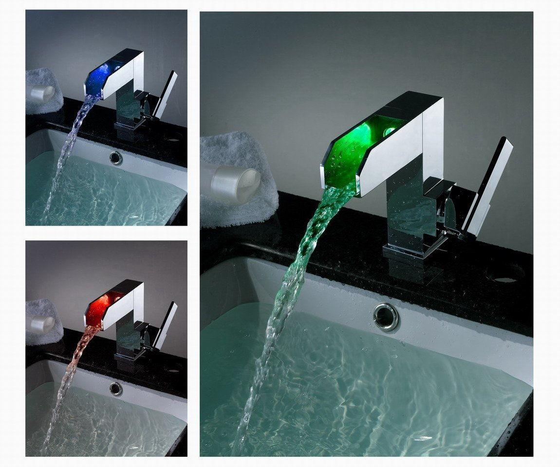 Color Changing LED Waterfall Bathroom Sink Faucet - Blade Series LS04
