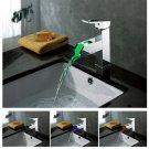 Color Changing LED Waterfall Bathroom Sink Faucet - Blade Series LS05