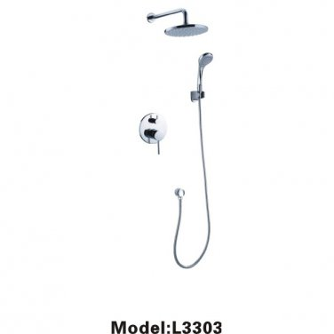 Contemporary Shower Faucet with 8 inch Shower Head + Hand Shower chrome finish 3303