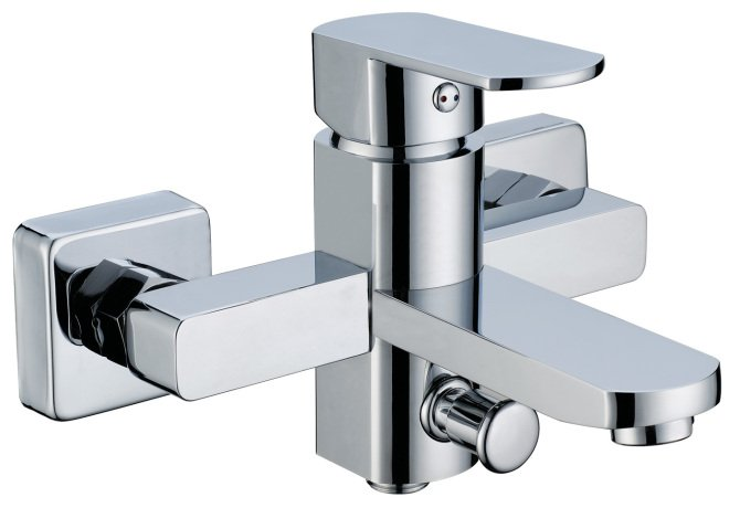 NEW** square Wall mount shower Faucet with tub filler 2002 chrome finish
