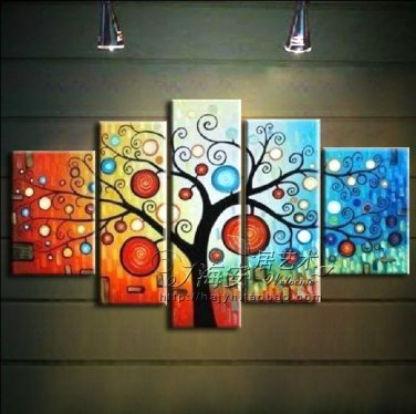 Hand-painted Abstract Oil Painting with Stretched Frame  F1158
