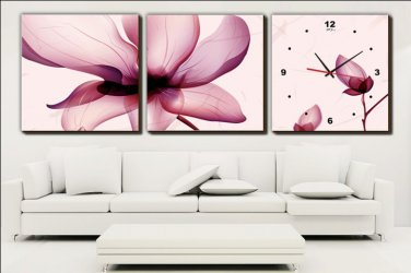 Modern Scenic Wall Clock in Canvas 3pcs H3003B