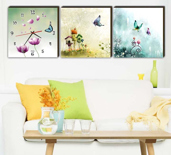Modern Style Scenic Canvas Wall Clock 3pcs H3505