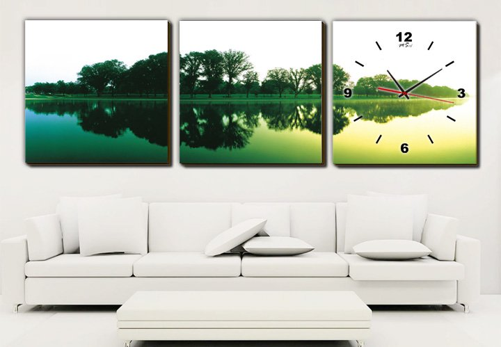 Modern Style Scenic Canvas Wall Clock 3pcs H3513