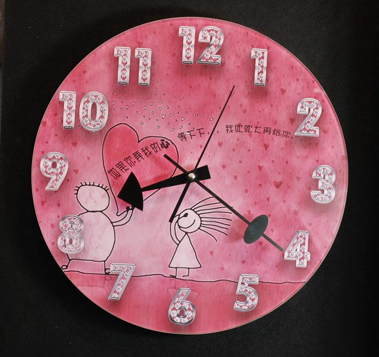 Pink Love Style Glass Wall Clock