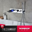 Chrome Finish Color Changing Wall Mount Tub Faucet With Hand Shower 3312