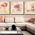 Modern Style Flower Wall Clock in Canvas 3pcs - 473M