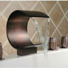 Oil-rubbed Bronze Waterfall Widespread Bathtub Faucet with Hand Shower (Curved Shape Design) 1081