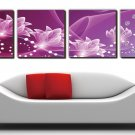 "12"" Modern Style Floral Wall Clock in Canvas 4pcs- 178M"