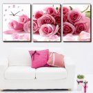 "16"" Modern Style Floral Wall Clock in Canvas 3pcs- 080M"