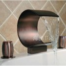 NEW**Contemporary Brass Waterfall Bathroom Sink Faucet (Widespread)ORB finish 1082