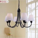 60W*6 Contemporary 6 Light Down Lighting Chandelier With White Shade