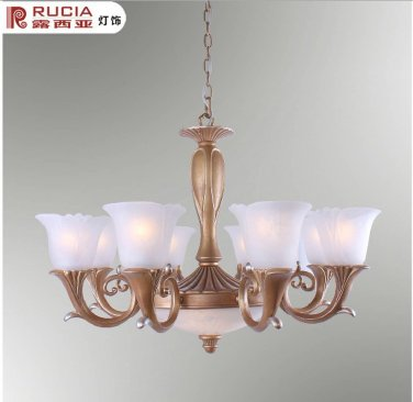 European Transitional Chandelier Light with 10 Lights Up with white floral shades CH085-8+2+42