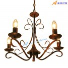 European-Style 5 Light Chandelier with white candle shade 60345P