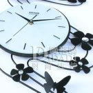 Butterfly Flower Metal Wall Clock