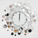 Mirror Floral Metal Wall Clock