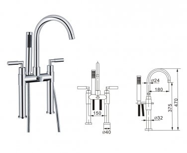 Contemporary Centerset Solid Brass Double Handles Bridge Bathtub Faucet with Hand Shower(Chrome)