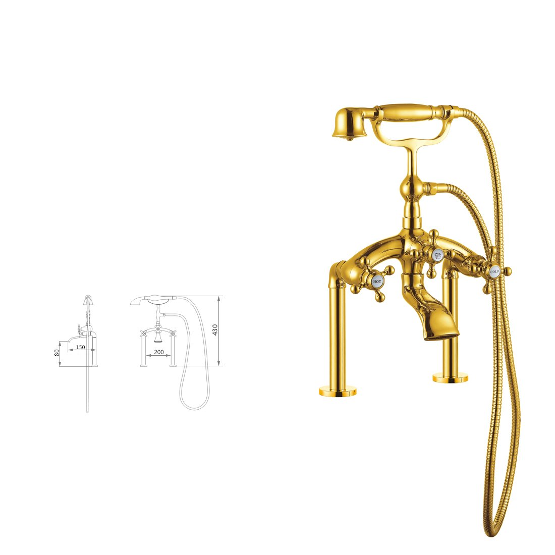Centerset Solid Brass Double Handles Bridge Bathtub Faucet with Hand Shower Ti-PVD finish 9127