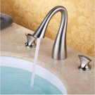 Contemporary Satin nickle Three Holes Two Handles Waterfall Bathroom Sink Faucet 2058A
