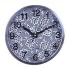 "12""H Round Floral Style Stainless Steel Mute Wall Clock - LEYU8013-1"