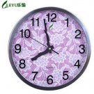 """12""""H Round Floral Style Stainless Steel Mute Wall Clock - LEYU8013-4"""