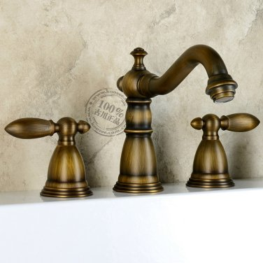 Antique Brass Widespread Two Handles Bathroom Sink Faucet KZ-333Q
