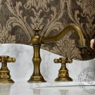 Antique Brass Widespread Two Handles Bathroom Sink Faucet KZ-356Q