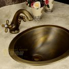 43.5*34.5*17.8cm Oval Antique Brass Vessel Sink Under Counter Basin TP1006