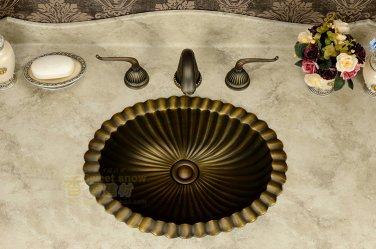 43.5*35*17.8cm Oval Antique Brass Vessel Sink Under Counter Basin TP1002