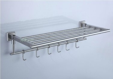 Contemporary Satin Stainless Steel Bathroom Towel Rack with Hooks 7960A