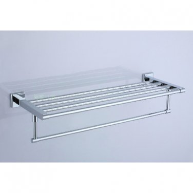 Polished Chrome Stainless steel Bathroom Shelf With Towel Bar 7802