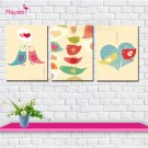 Stretched Canvas Print Art Animal Birds Design Set of 3 - 645M