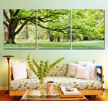 Stretched Canvas Art Landscape Green Tree Set of 3 - YAYI001