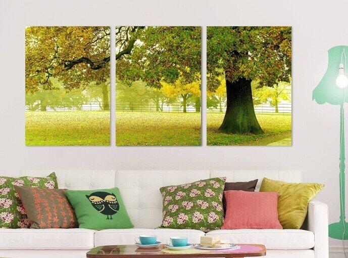 Stretched Canvas Art Landscape Green Tree Set of 3 - YAYI003