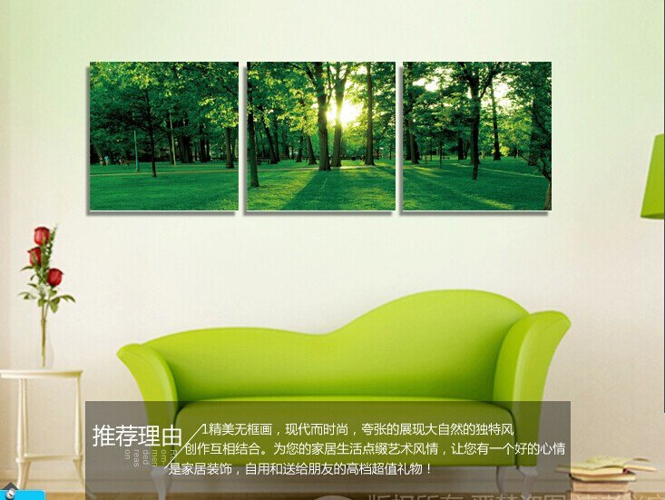 Stretched Canvas Art Landscape Green Tree Set of 3 - YAYI007