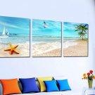 Stretched Canvas Art Landscape Coastal Beach Set of 3 - YAYI201