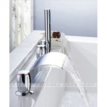 Chrome Two Handles Waterfall Widespread Tub Faucet 8816