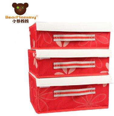 3 sets Compartment Soft Lid Underwear Storage Box---BM-0178