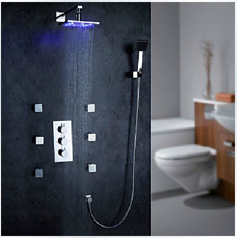 LED Wall Mount Thermostatic Shower Faucet with BodySprays (Chrome Finish) ----000342