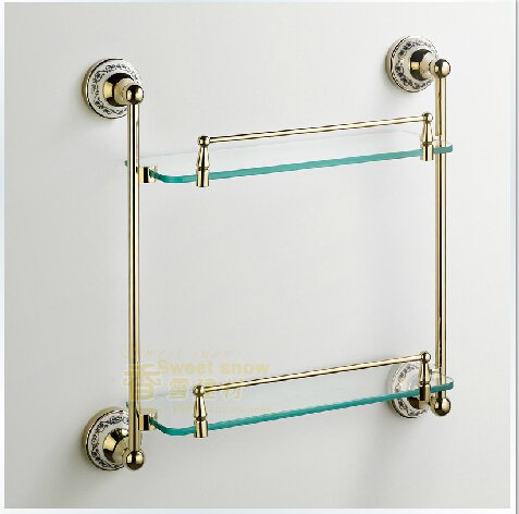 Contemporary Ti-PVD Bathroom Accessories Double Glass Shelf---A0102