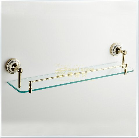 Contemporary Golden  Brass Glass Shelf--A0159