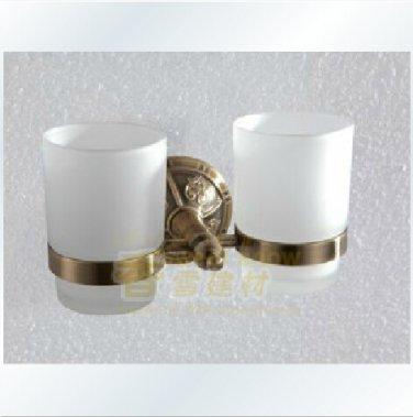 Brass Double Tumbler Holder Anitique Brass Finish 1310