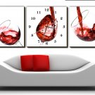 "12""Modern Style Wine Theme Wall Clock in Canvas Set of 3 - MPF(C017)"