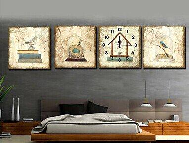 "16""Modern Bird Wall Clock in Canvas 4pcs - MPF(SYNJ378)"