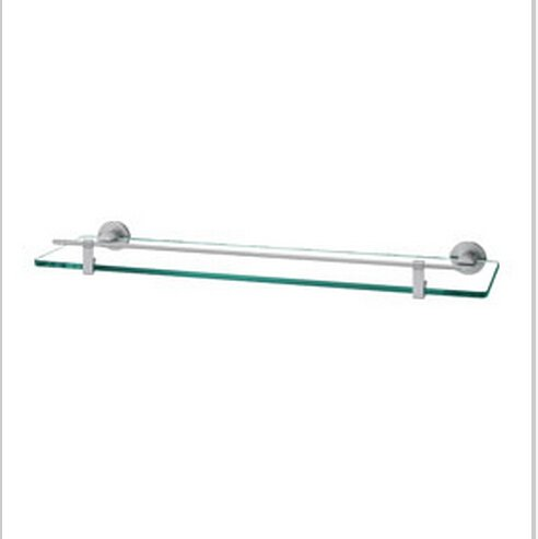 Contemporary Aluminium And Glass Material Bathroom Shelf Chrome Finish 0425