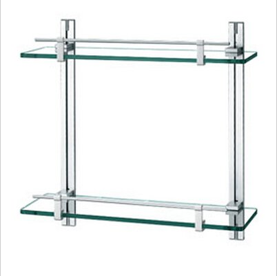 Contemporary Aluminium And  Glass Material Bathroom Shelf Chrome finish  0433
