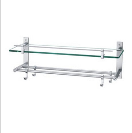 Contemporary Aluminium And Glass Material Bathroom Shelf Chrome Finish 0441