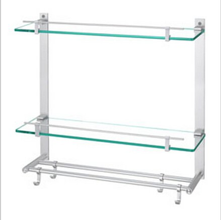 Contemporary Aluminium And Glass Material Bathroom Shelf With Hooks Chrome Finish 0443