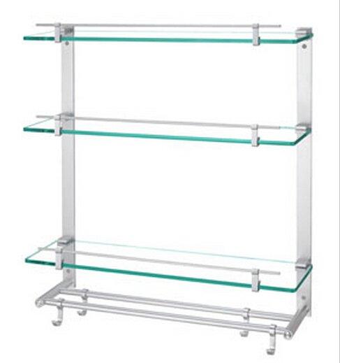 Contemporary Aluminium And Glass Material Bathroom Shelf With Hooks Chrome Finish 0445