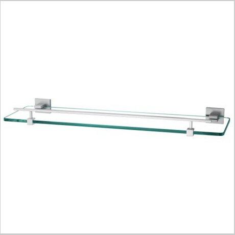 Contemporary Aluminium And Glass Material Bathroom Shelf Chrome Finish 1425